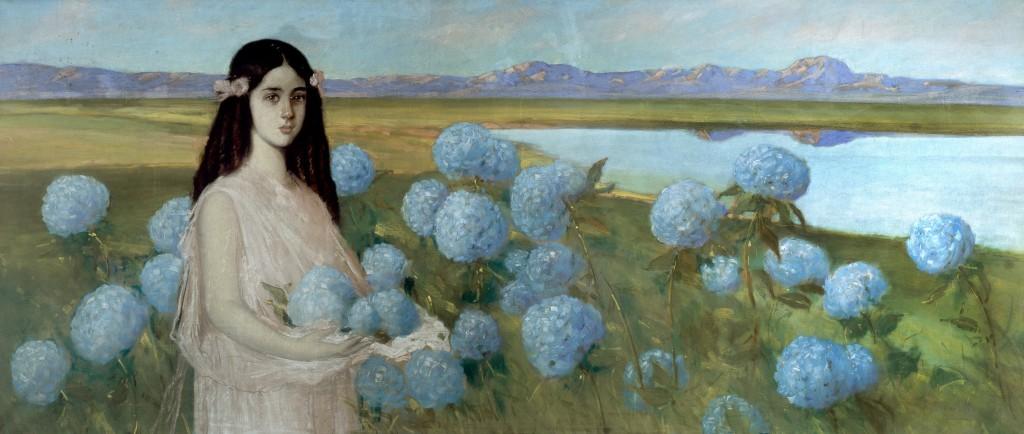 Paisaje con niña y hortensias, de Alfredo Ramos Martínez