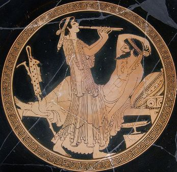 Convidado y música, copa del pintor de Colmar, siglo V a. C.