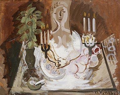 Mujer en una mesa con candelabros y frutas, de Hernando Viñes