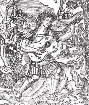 Orfeo tocando la vihuela, grabado del libro El Maestro, de Luis de Milán