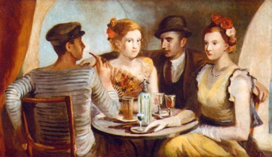 Parejas en un café, de Pere Pruna