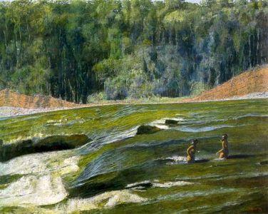 Dos bañistas en los rápidos, de Armando Morales