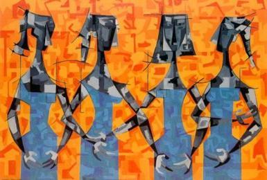 Cuatro mujeres en azul, fondo naranja, de Cundo Bermúdez