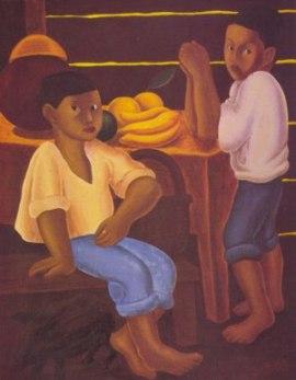Niños con bodegón de bananos, de Francisco Amighetti