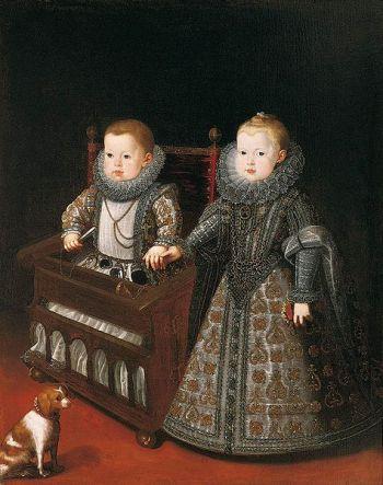 Los infantes Don Alfonso el Caro y Ana Margarita, de Bartolomé González y Serrano