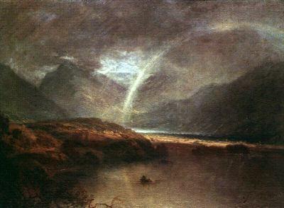 Lago Buttermere con parte de Cromackwater, Cumberland, un chubasco, de Joseph Mallord William Turner