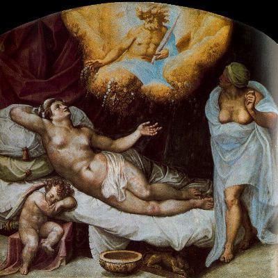 Dánae concibiendo a Perseo con la lluvia de oro de Zeus, de Gaspar Becerra