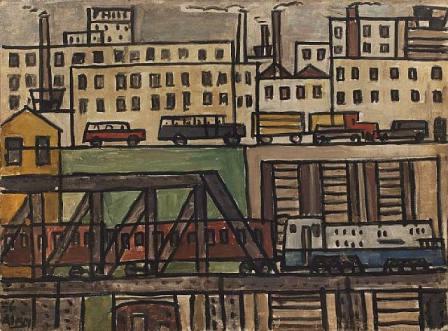 Paisaje urbano con tren, de Julio Alpuy