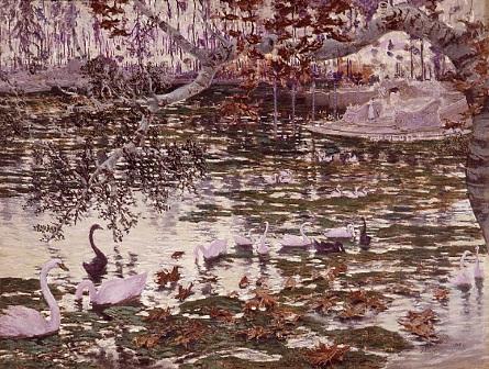Estanque, hojas caídas y cisnes, de Antonio Muñoz Degrain