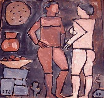 Dos figuras constructivas con objetos, de Joaquín Torres García