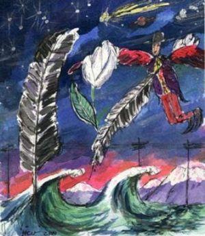 """Ilustración de Hernán Castellano Girón para el libro """"Alberto Rojas Jiménez viene volando"""""""