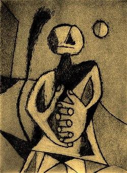 Hombre contemplando, de Rufino Tamayo
