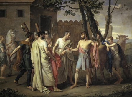 Cincinato abandona el arado para dictar leyes a Roma, de Juan Antonio Ribera