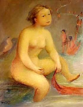Playa con desnudo, de Raúl Soldi