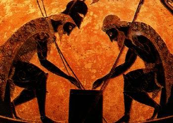 Áyax y Aquiles jugando a los dados, de Exequias