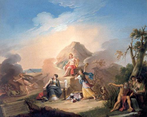 Alegoría del Teatro con Apolo, Talía y Melpómene, de Zacarías González Velázquez
