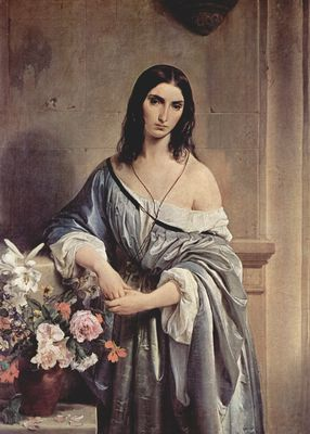 Muchacha melancólica, de Francesco Hayez