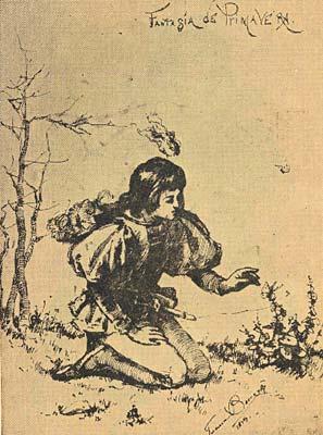 Fantasía de primavera, dibujo de Juana Borrero
