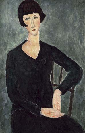 Mujer sentada con vestido azul, de Amadeo Modigliani