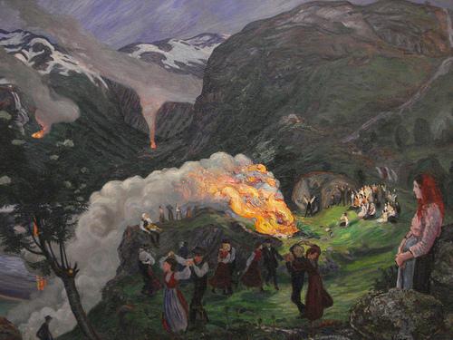 Hoguera en la víspera de San Juan, de Nikolai Astrup