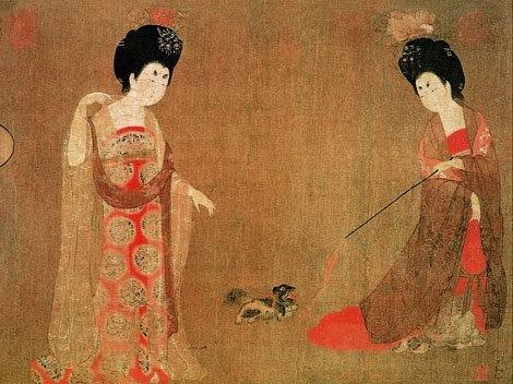 Cortesanas con flores en el pelo, de Zhou Fang