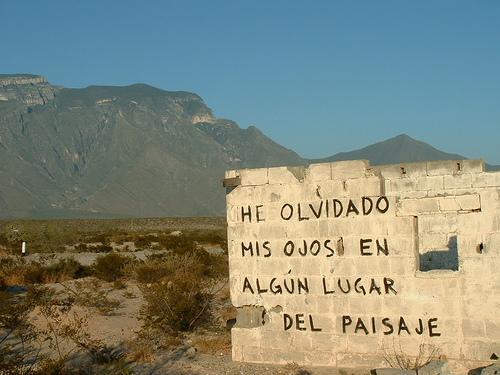 """Pintada de Armando Alanis (""""Accion Poetica"""") en la entrada del camino que lleva de la carretera Monterrey-Monclova (Km. 47) al museo Boca de Potrerillos."""