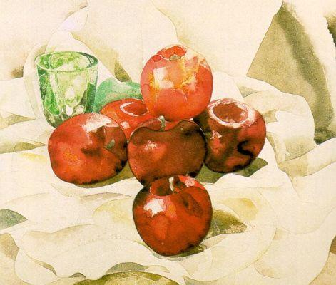 Bodegón con manzanas y vaso verde, de Charles Demuth