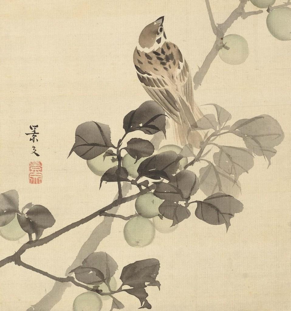 Gorrión sobre un ciruelo, de Matsumura Keibun